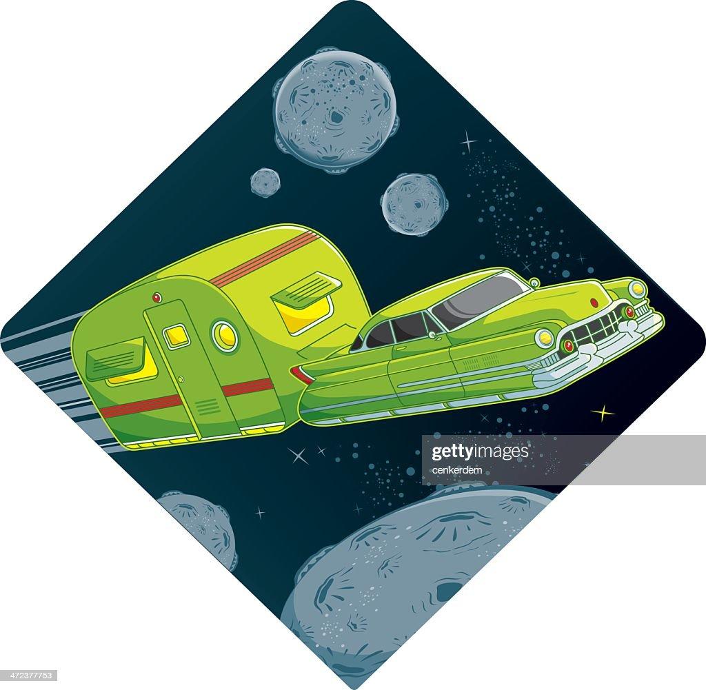 retro car and caravan