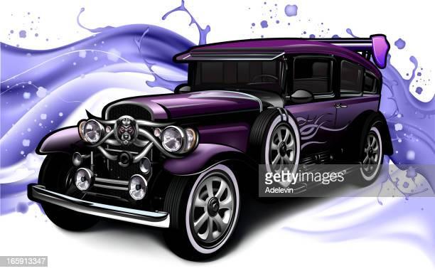 retro car concept - sedan stock illustrations, clip art, cartoons, & icons