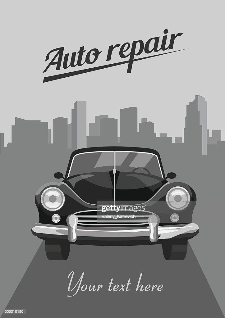 Retro car on city background. Vector illustration