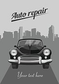 Retro car on city background. Vector illustration