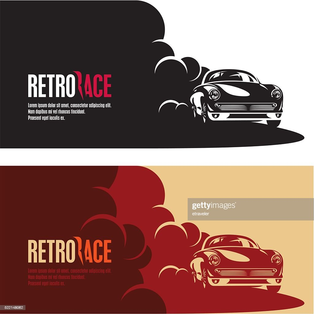 retro car race banner