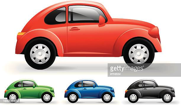 retro car - compact car stock illustrations, clip art, cartoons, & icons
