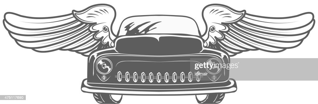 Retro car with wings isolated vector illustration
