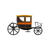 Retro carriage, antique vehicle vector Illustration on a white background
