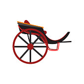 Retro carriage for transportation of people, antique vehicle vector Illustration on a white background