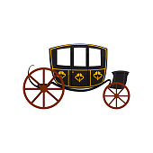 Retro carriage, wagon for traveling, antique vehicle vector Illustration on a white background