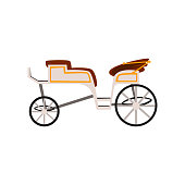 Retro carriage, wedding coach, antique vehicle vector Illustration on a white background
