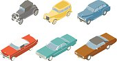 Retro Cars Isometric Illustration