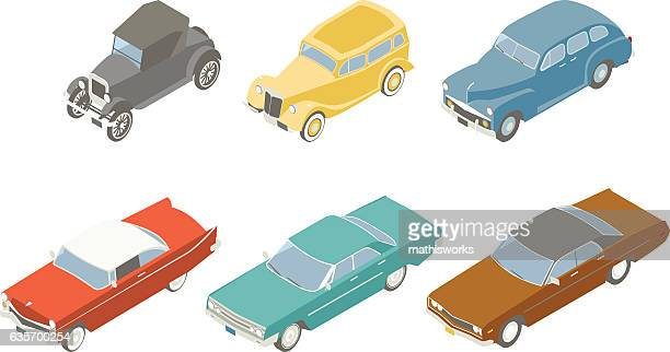 retro cars isometric illustration - mathisworks vehicles stock illustrations