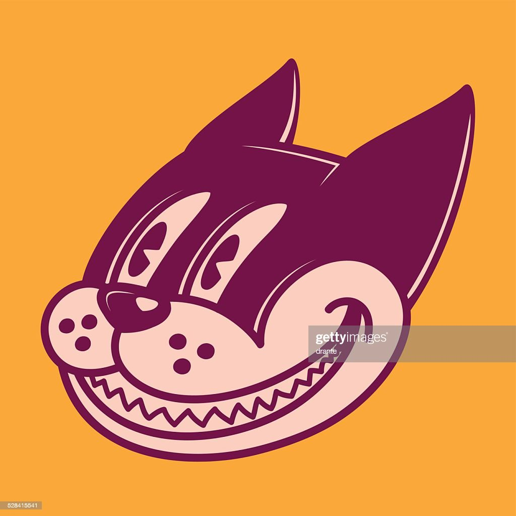 Retro cartoon character smiling cat, grinning face, vintage 50s toons