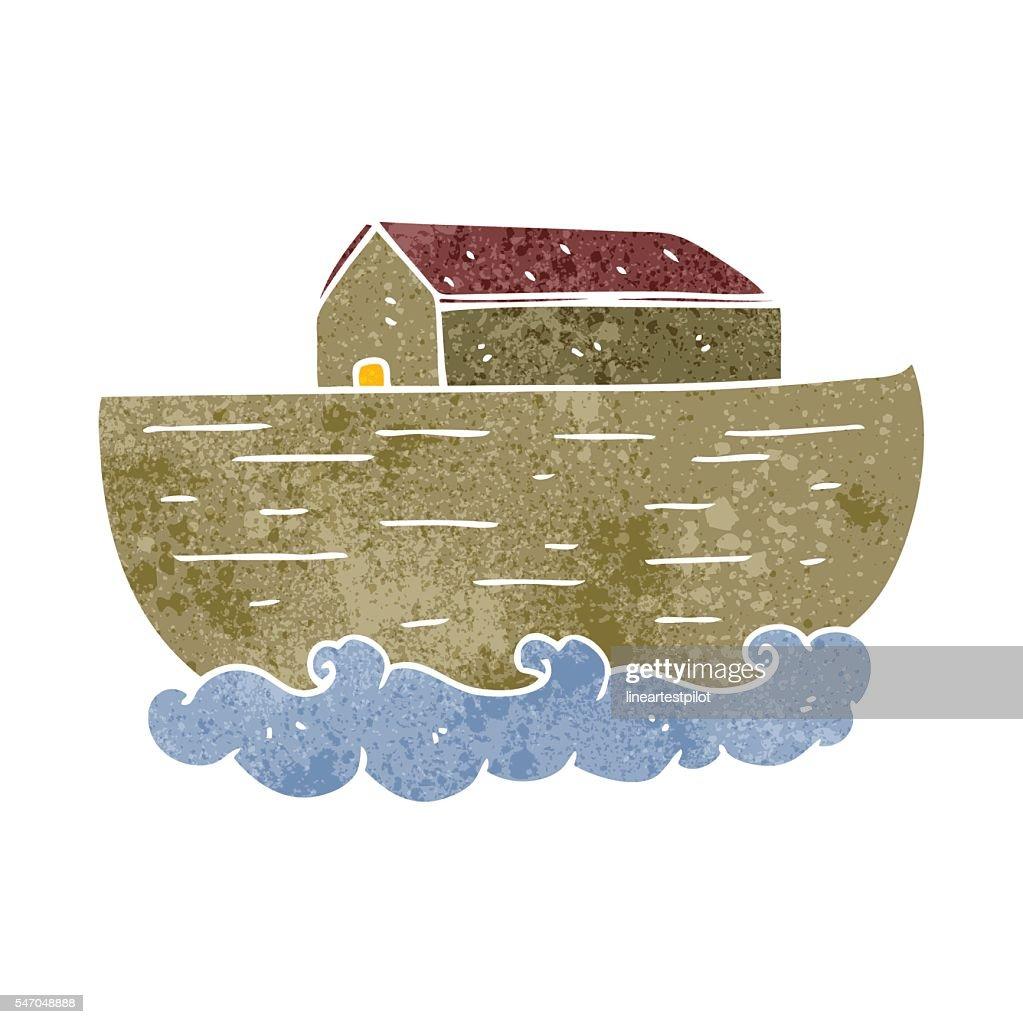 retro cartoon noah's ark