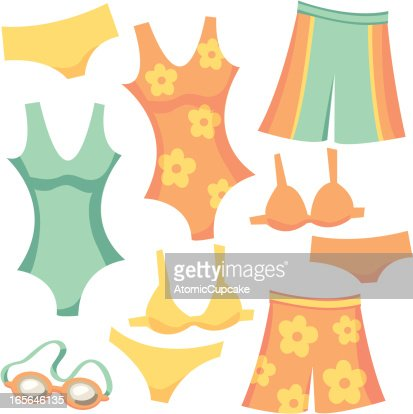 Retro Cartoon Swimwear Shorts Tank Bikini And Goggles ...