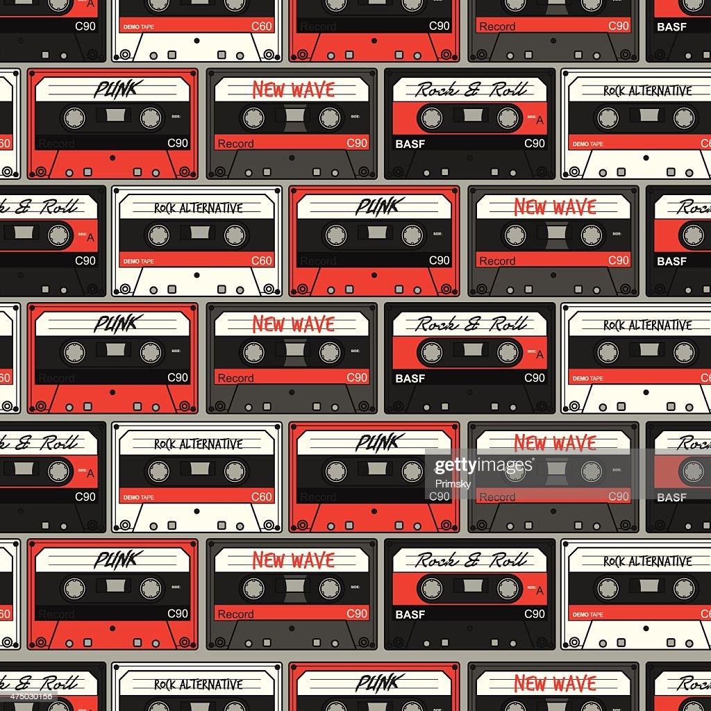 Retro Cassette seamless pattern