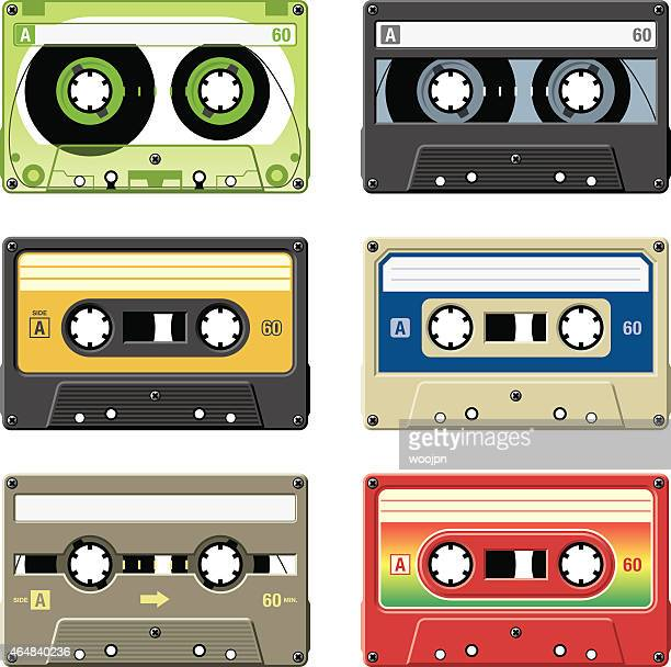 Retro cassette tapes with a variety of colors and labels