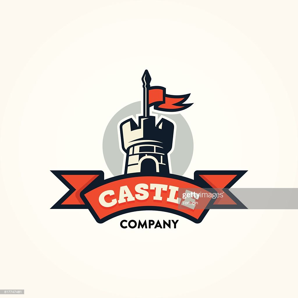 Retro castle illustration with red banner and text space