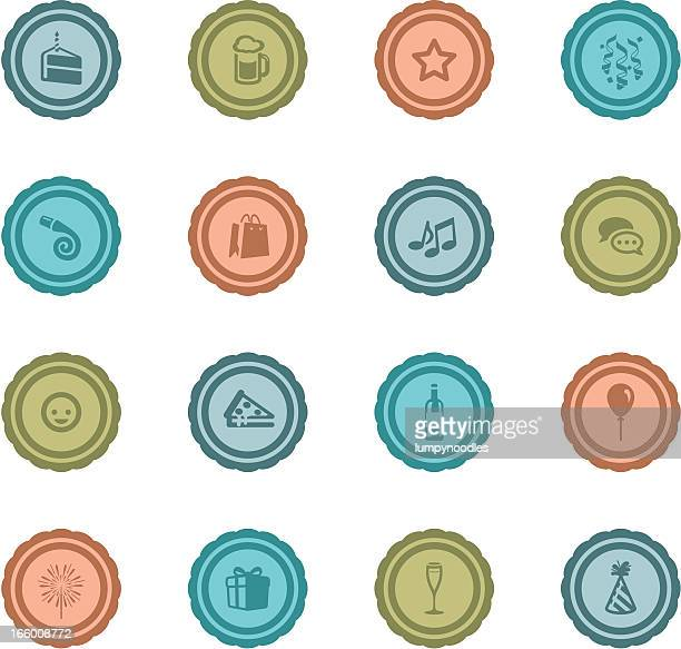 retro celebration and party badges - goodie bag stock illustrations, clip art, cartoons, & icons