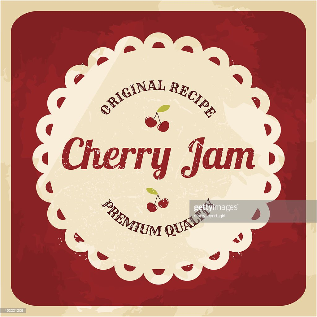 Retro Cherry Jam Label