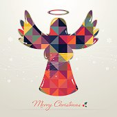 Retro christmas angel icon with text