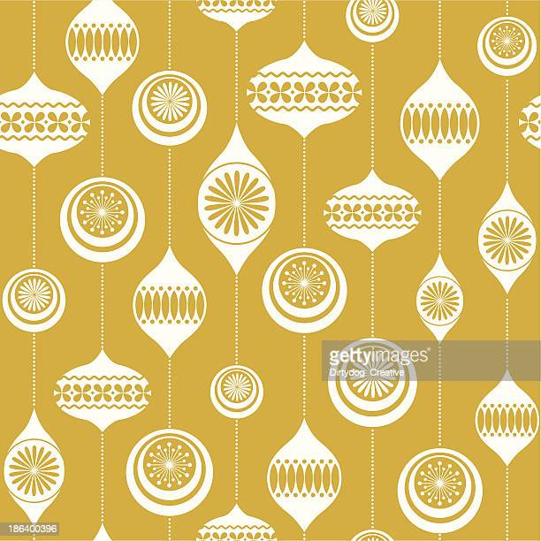 retro christmas bauble seamless vintage background - christmas paper stock illustrations
