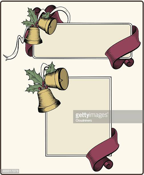 retro christmas bell banners - desaturated stock illustrations, clip art, cartoons, & icons
