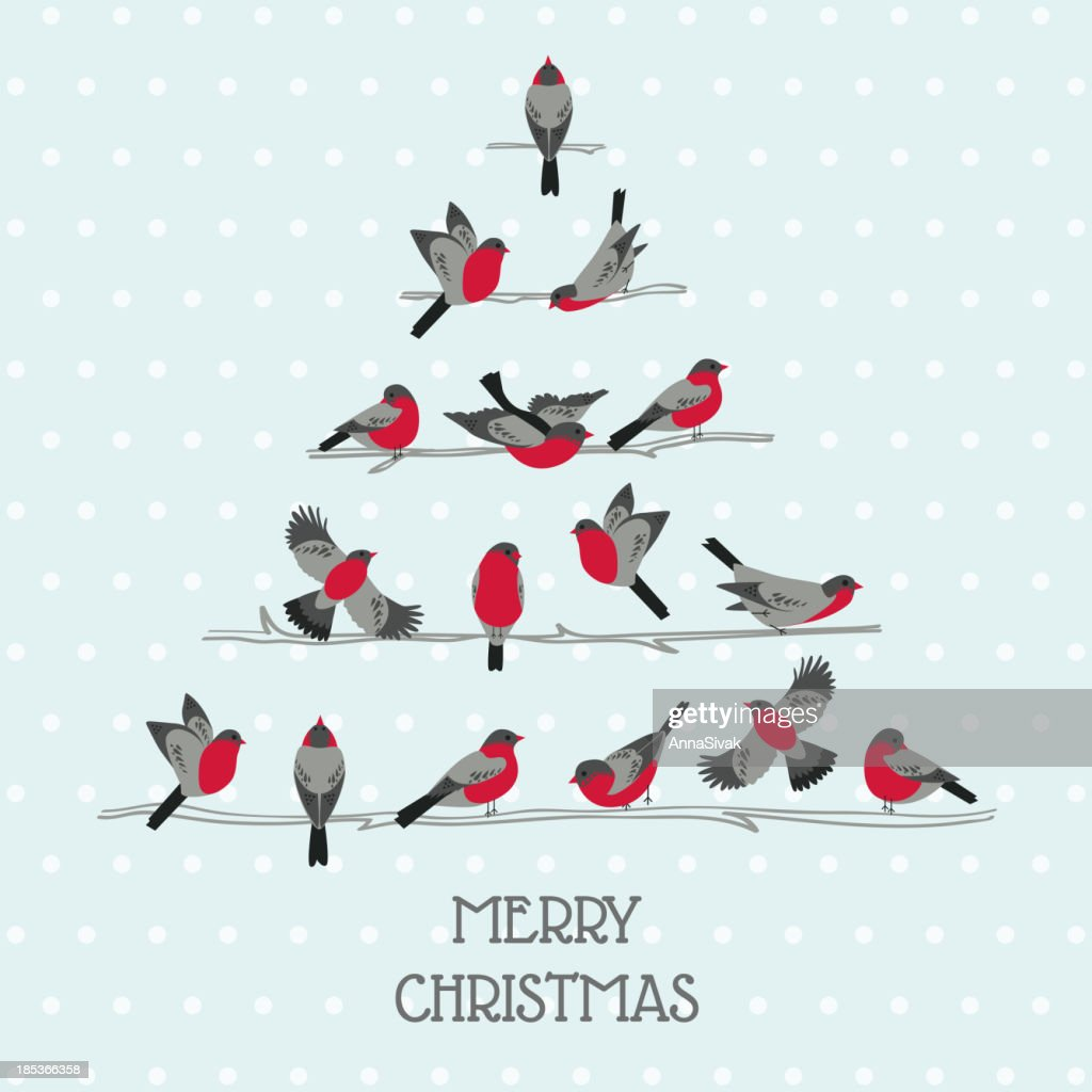 Retro Christmas Card - Birds