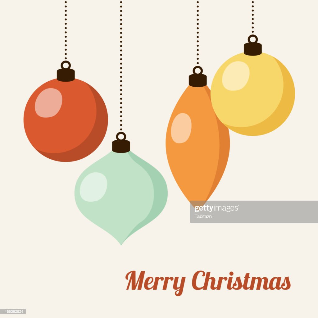 Retro christmas card with christmas balls, vector