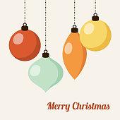 Retro christmas card with christmas balls, vector