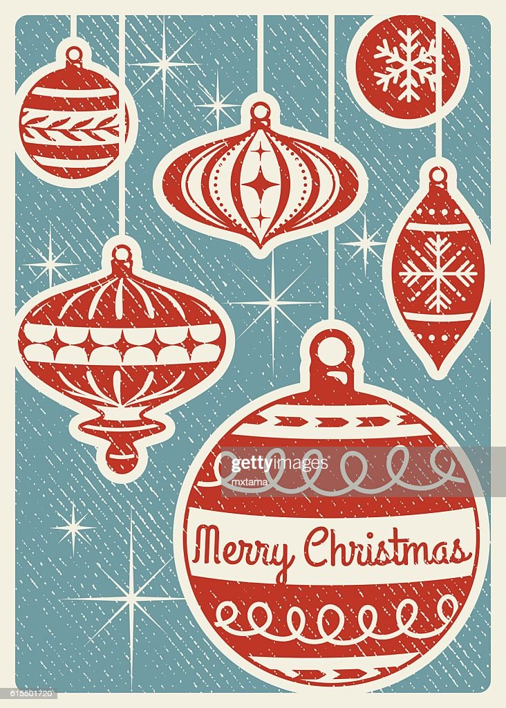 Retro Christmas Card With Ornaments and Copy Space