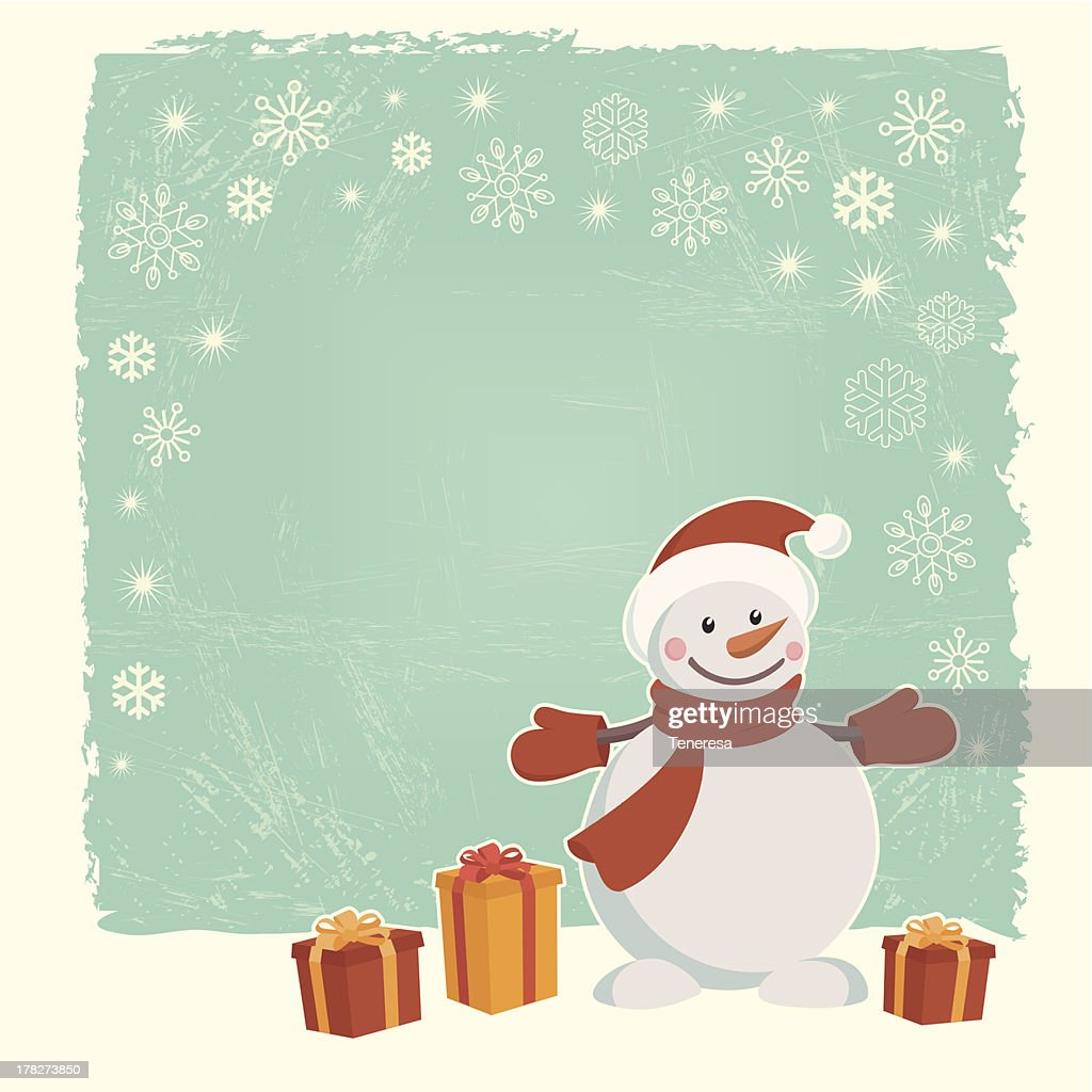 Retro Christmas Card With Snowman Vector Art | Getty Images