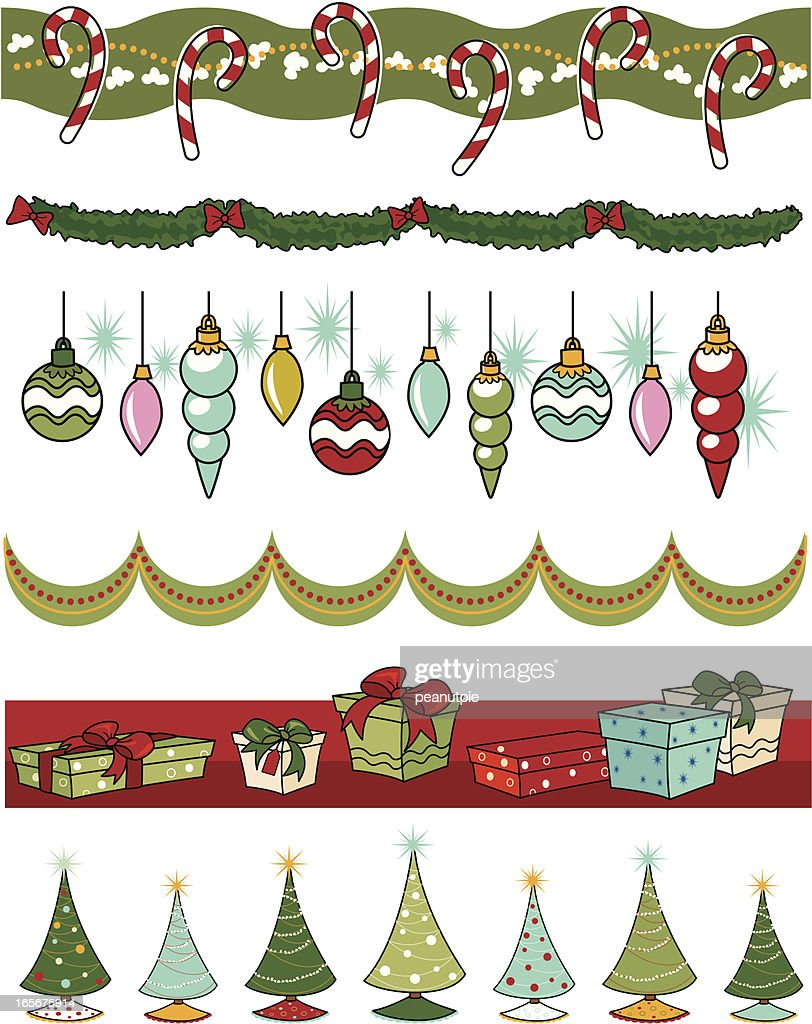 retro christmas deco borders : stock illustration