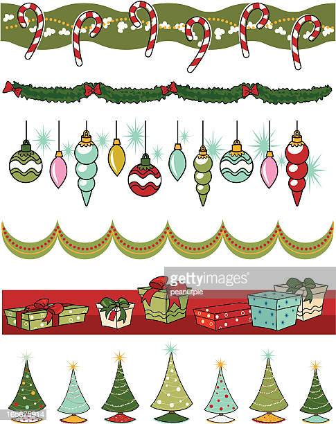 retro christmas deco borders