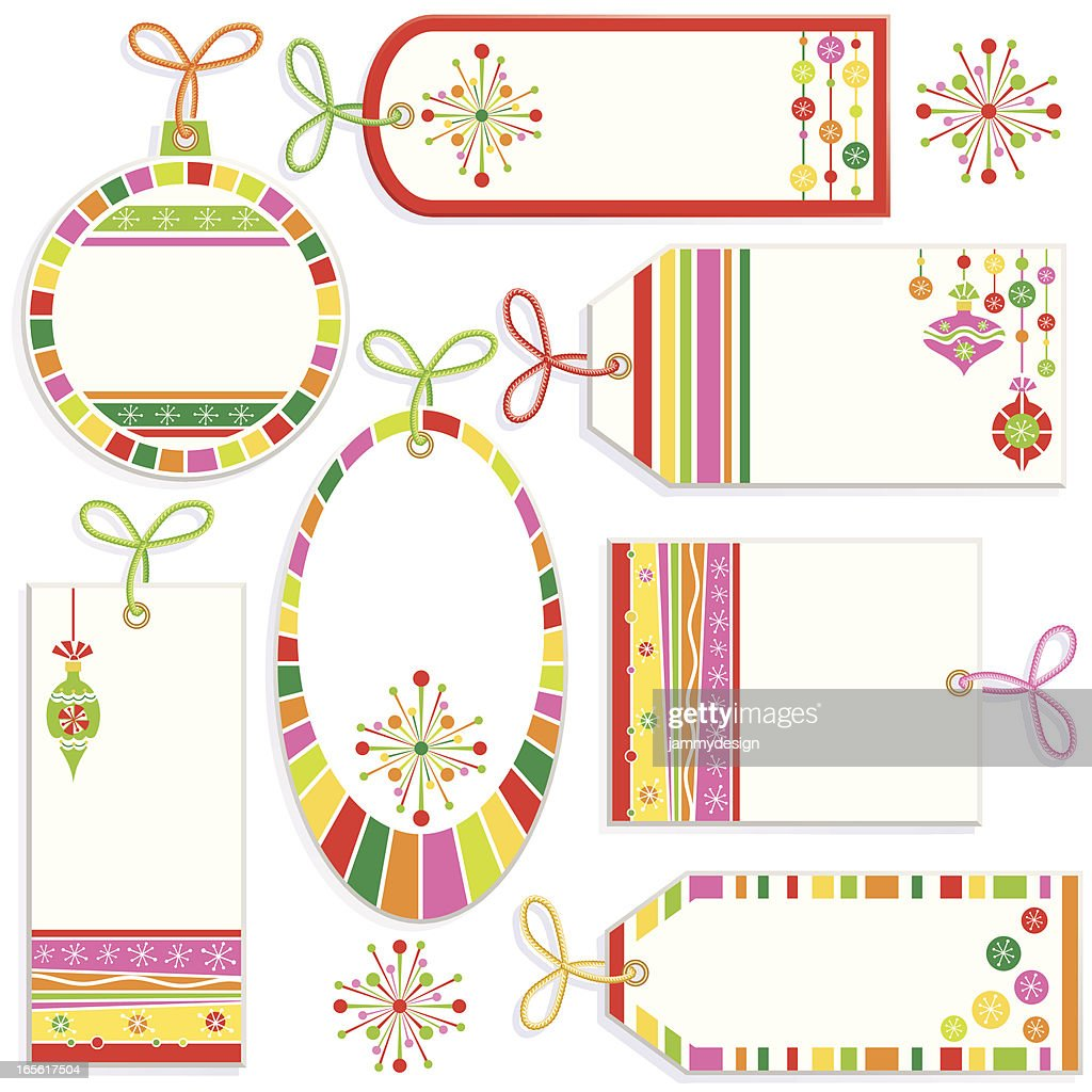 Retro Christmas Gift Tags Vector Art | Getty Images