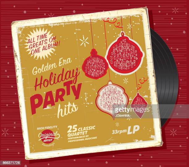retro christmas or holiday music record compilation design template - christmas music stock illustrations