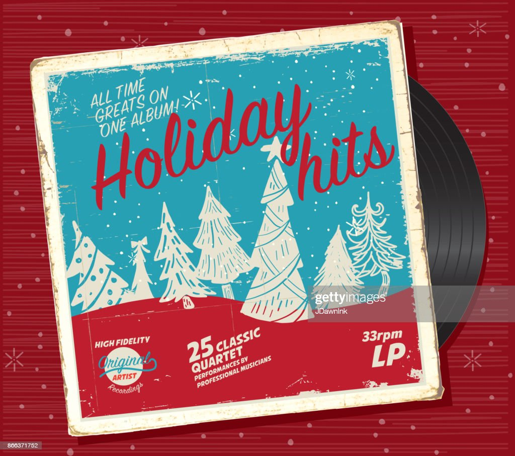 Retro Christmas or Holiday music record compilation design template : stock illustration