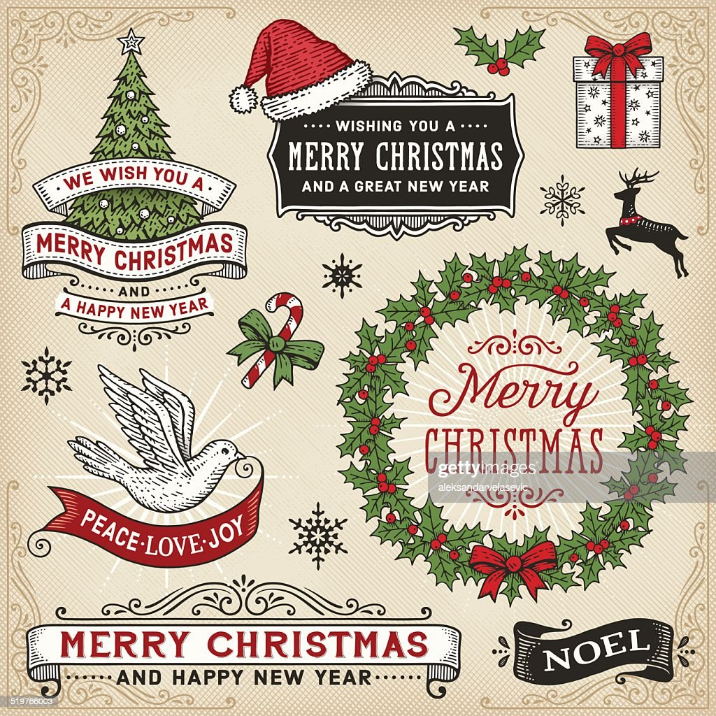 Christmas Signs Part - 42: Retro Christmas Signs,Banners And Frames : Vector Art