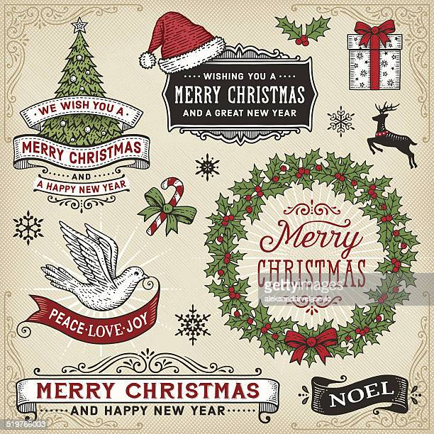 retro christmas signs,banners and frames - candy cane stock illustrations