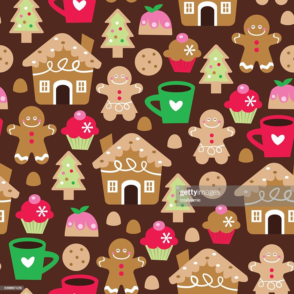 Retro Christmas Sweet Treats Seamless Pattern Background