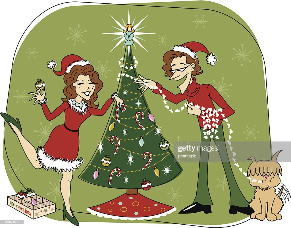Retro Christmas Tree Decorating Color Version Vector Art | Getty Images