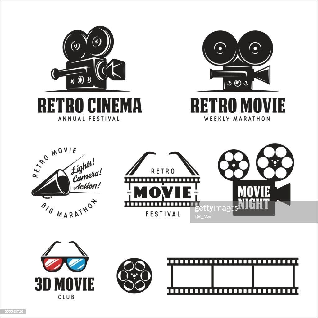 Retro cinema labels set. Vector vintage illustration.