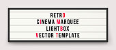 Retro cinema marquee or movie signage lightbox in frame vector template