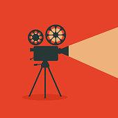 Retro cinema. Retro film projector.