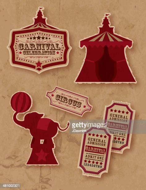 illustrations, cliparts, dessins animés et icônes de rétro set circus ou sur le thème du carnaval - chapiteau de cirque
