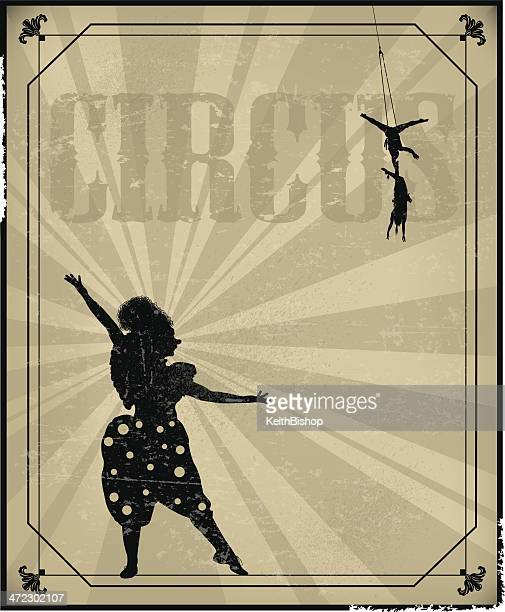 retro circus performer background - clown, acrobats - contortionist stock illustrations