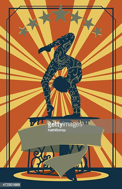 retro circus performer with banner - contortionist background - contortionist stock illustrations
