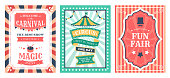 Retro circus poster. Vintage circus carnival show invitation, holiday party flyer templates, magic circus event elements vector illustration set