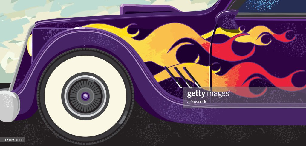 retro classic car with flames and whitewalls