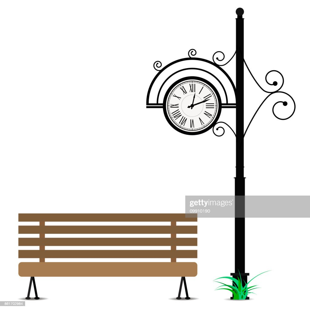 Retro clock and wooden bench