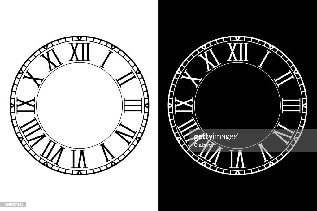 Retro clock face with roman numerals