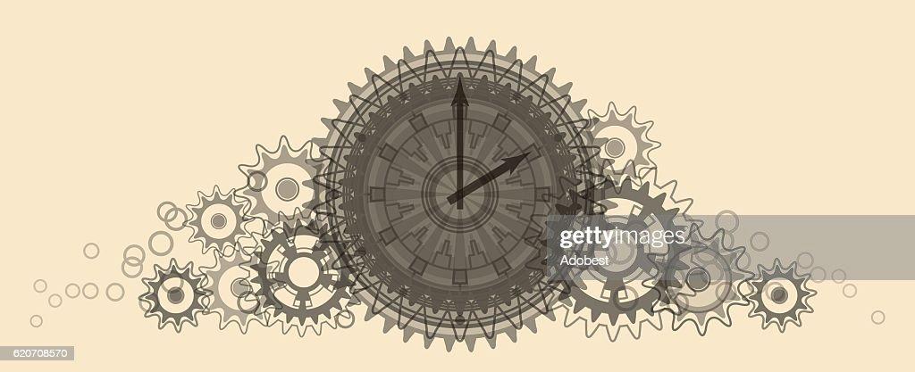 Retro Clock. Pale beige Illustration.