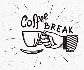 Retro coffee break crafted illustration
